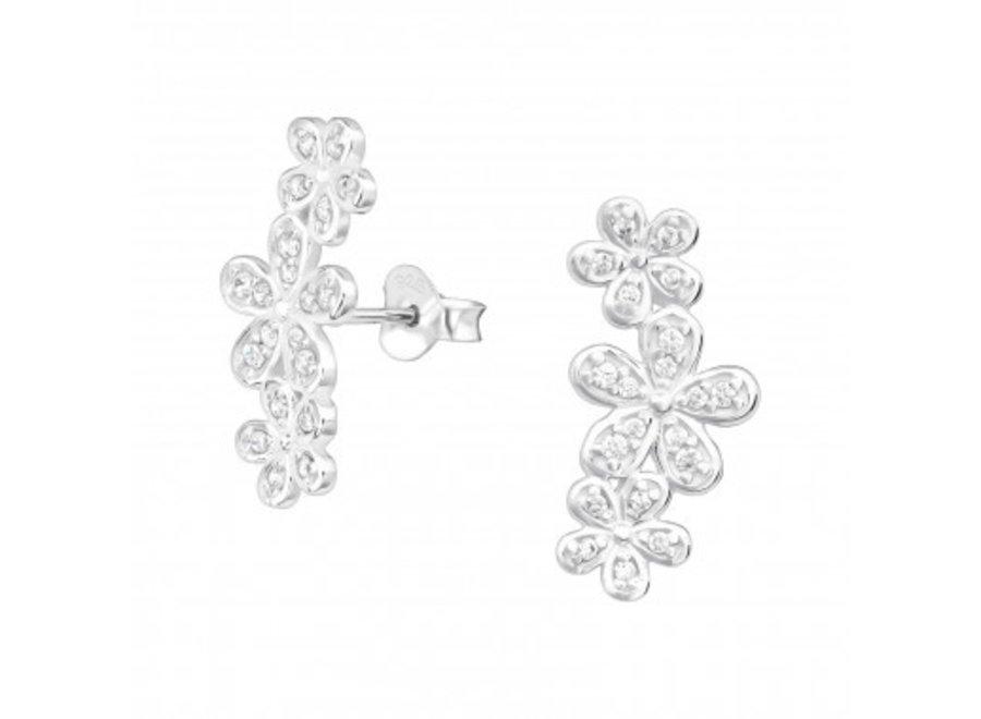 Zilveren manchet oorstekers bloemen