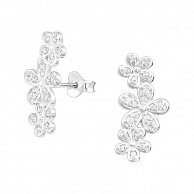 Zilveren manchet oorstekers bloemen-1