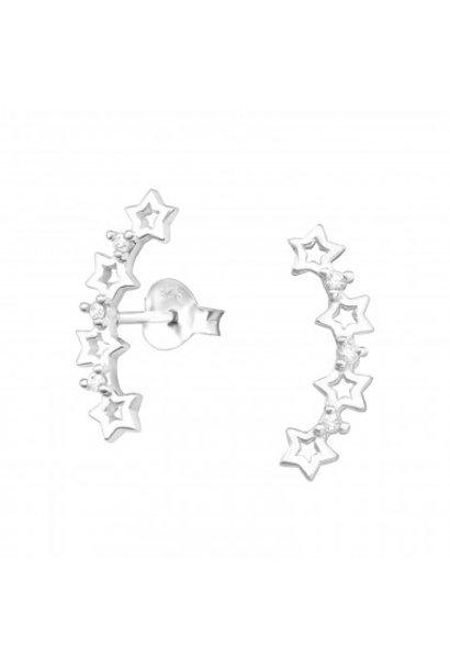 Zilveren manchet oorstekers sterren met zirkonia steentjes