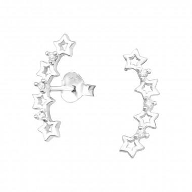 Cuff ear studs stars with zirconia stones-1