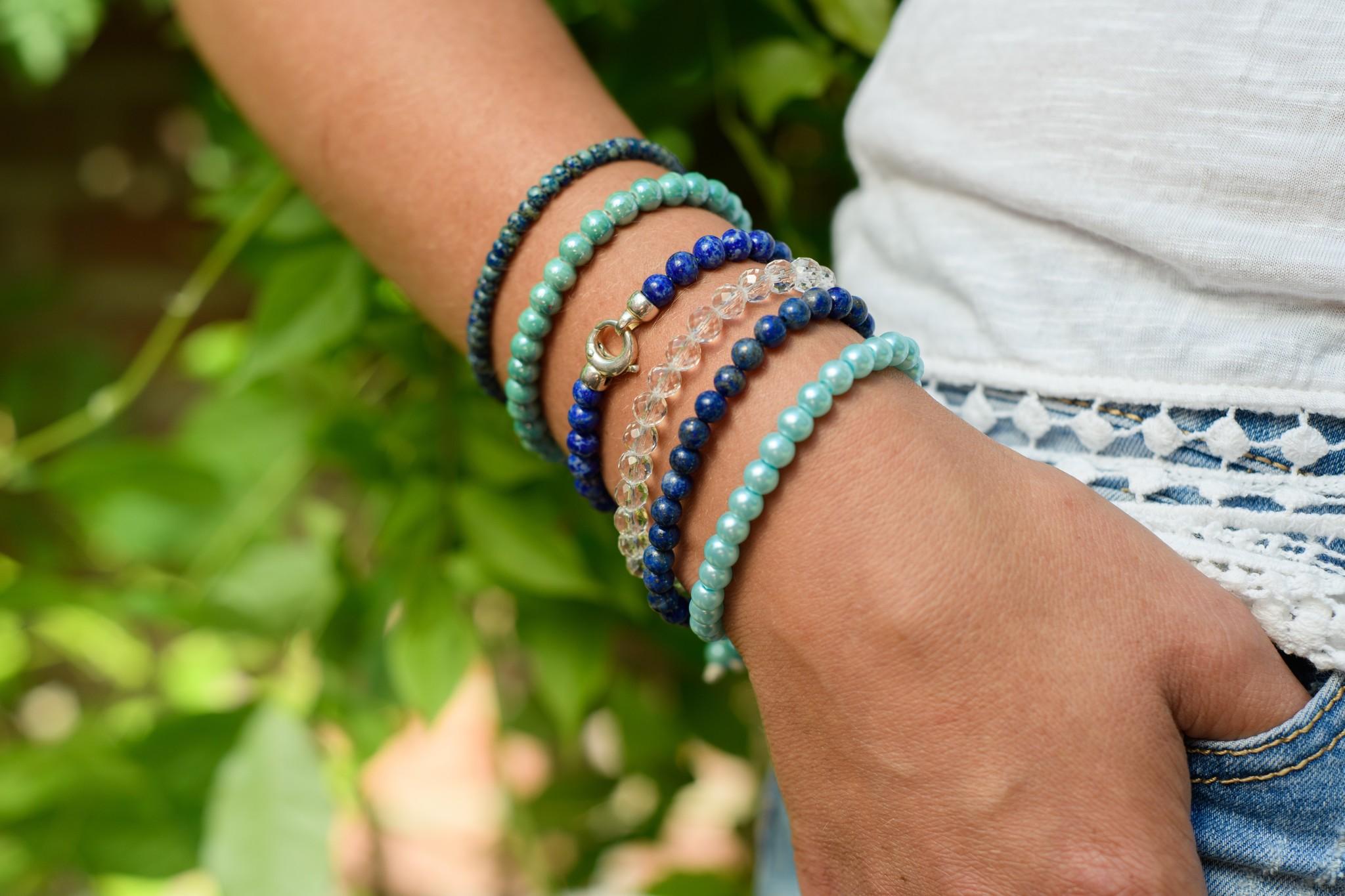 Edelsteen armband lapis lazuli met slot-2