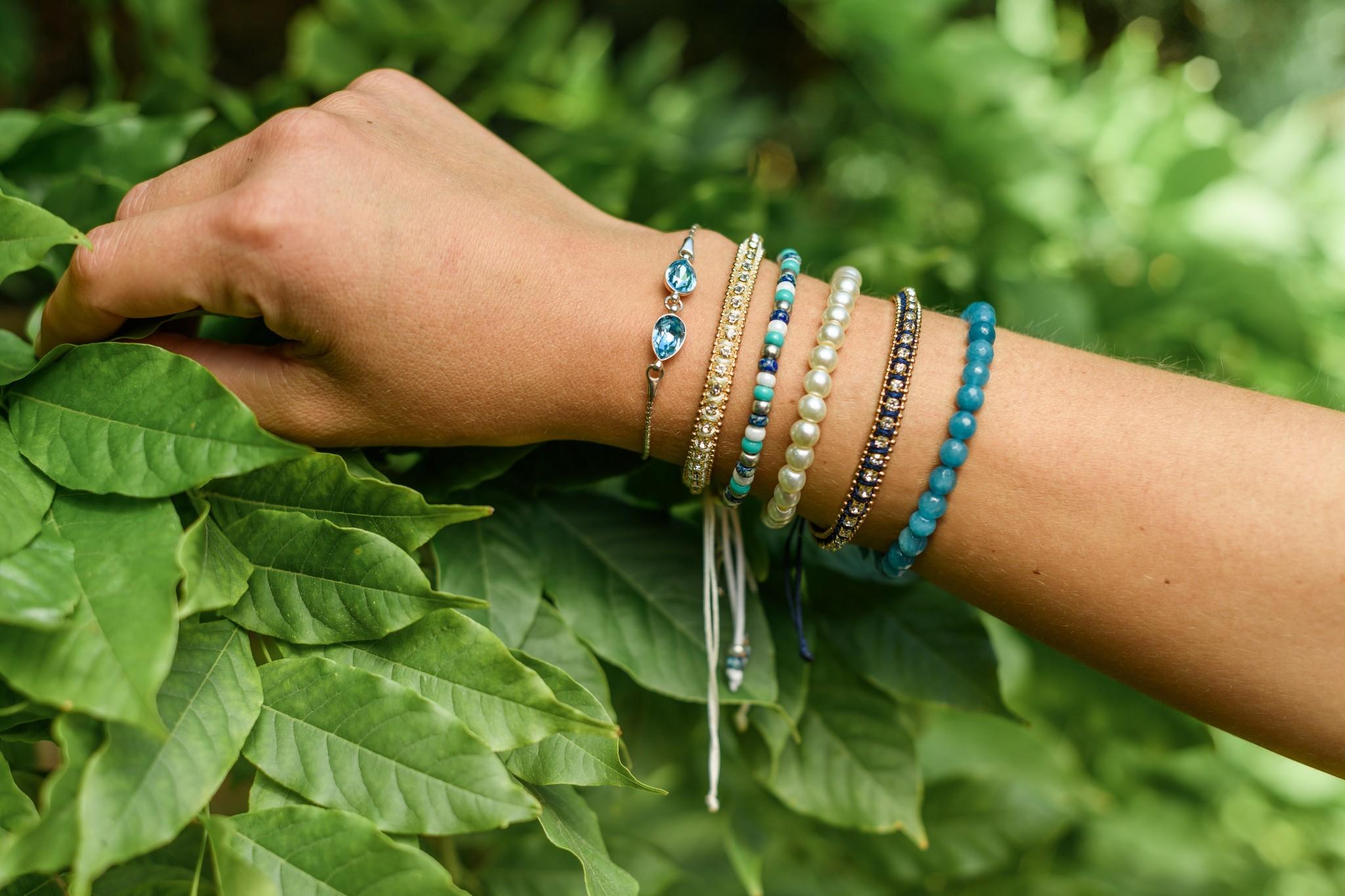 Glass pearl bracelet white-2