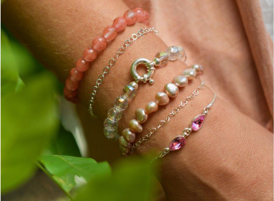 Zoetwaterparel armband zalm
