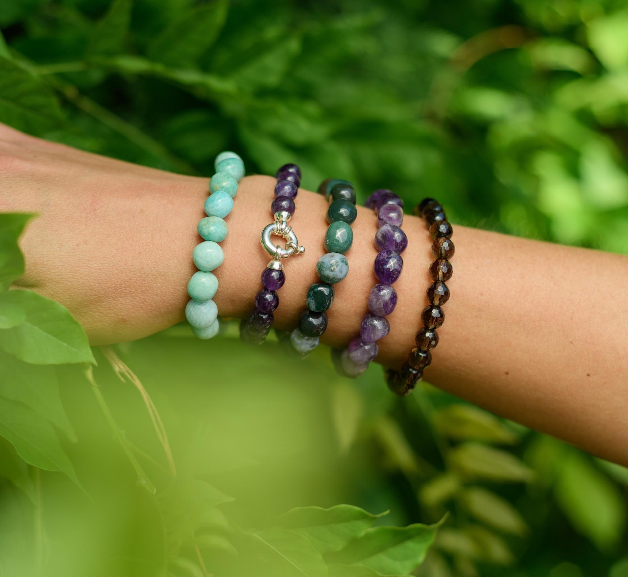 Gemstone bracelet amethyst with lock-3