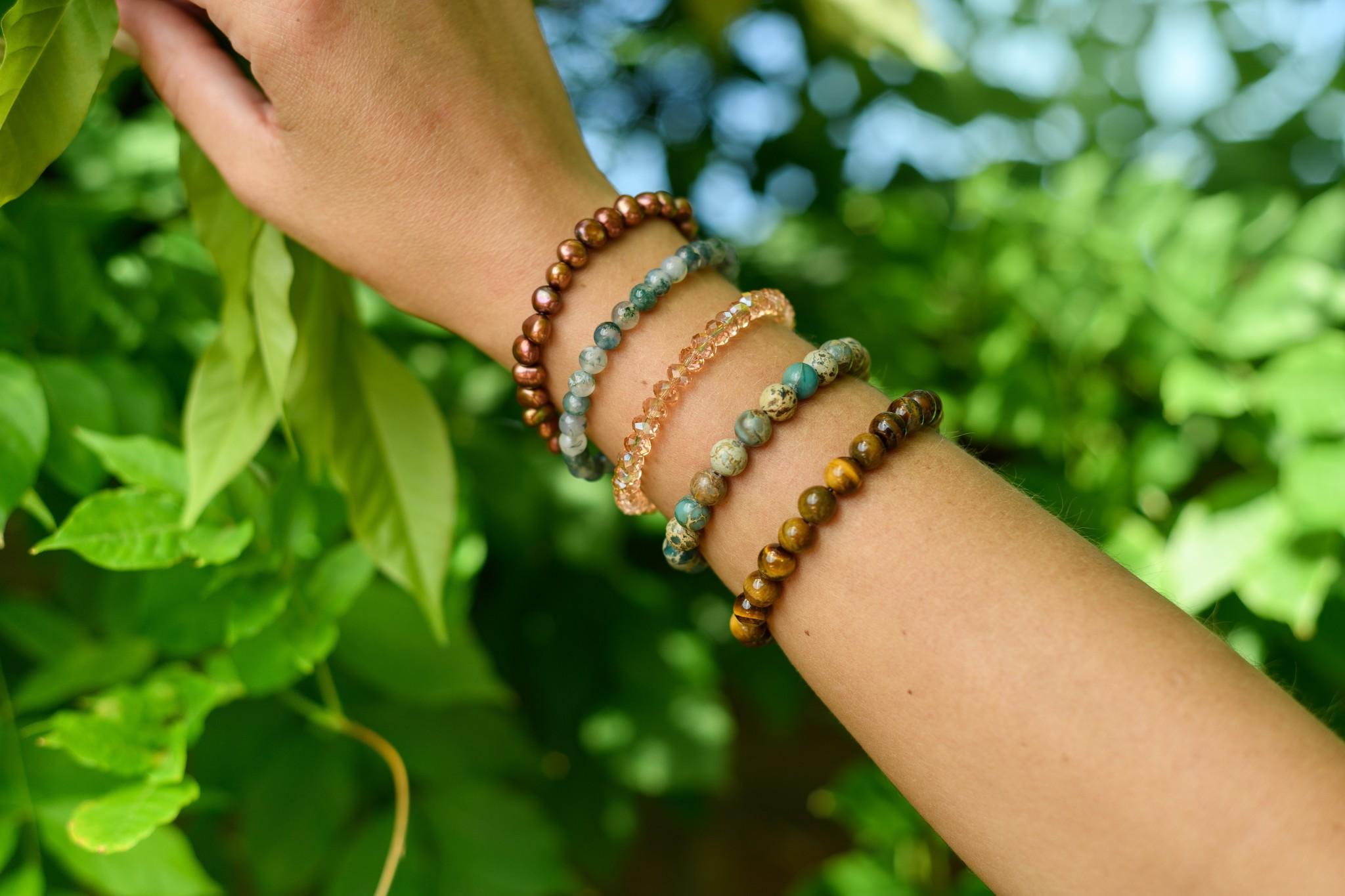 Freshwater pearl bracelet brown-2