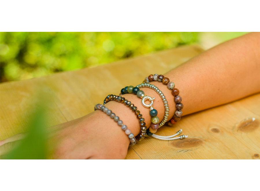 Gemstone bracelet Indian agate with lock
