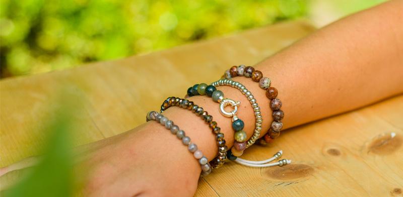 Gemstone bracelet Indian agate with lock-2