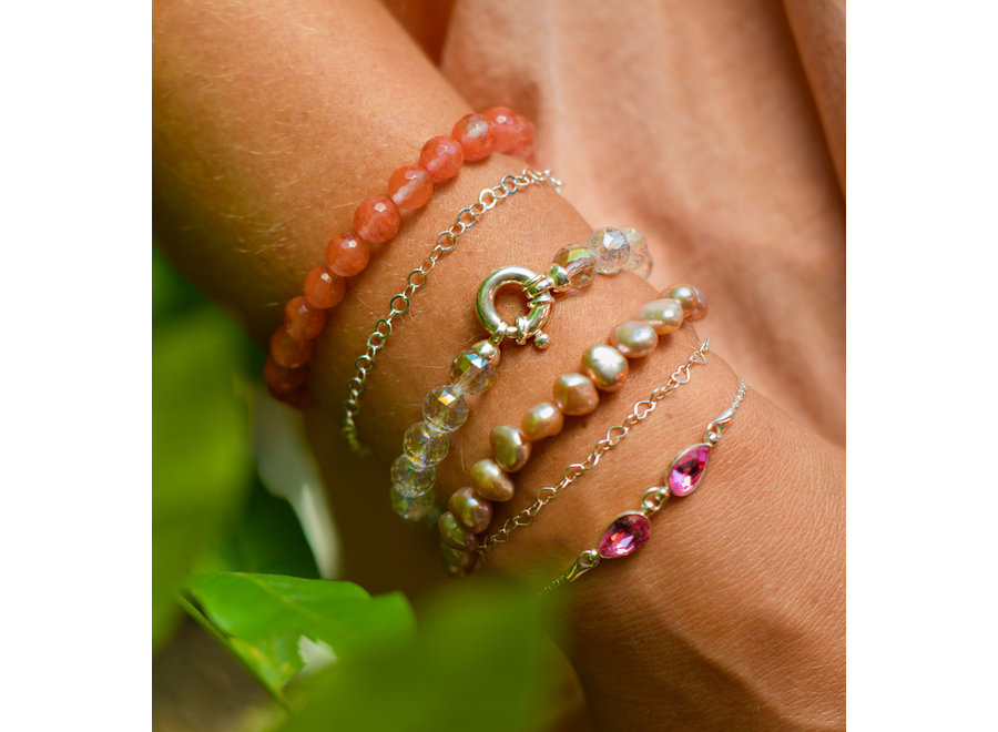 Gemstone bracelet coated rock crystal with lock