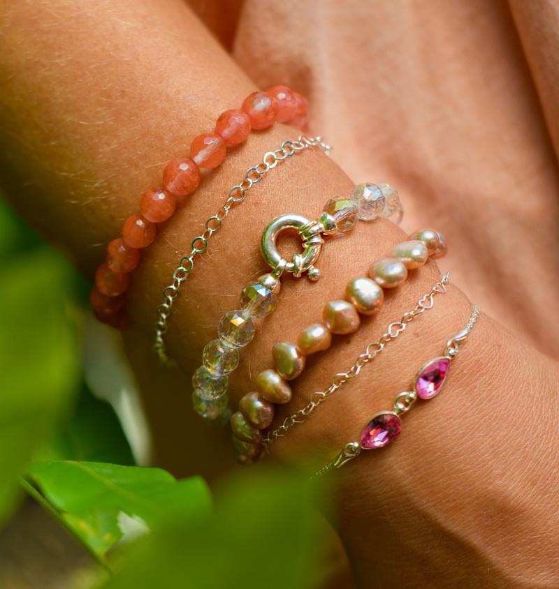 Gemstone bracelet coated rock crystal with lock-2