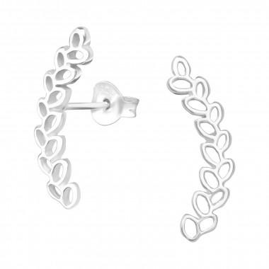 Zilveren manchet oorstekers olijftak-1