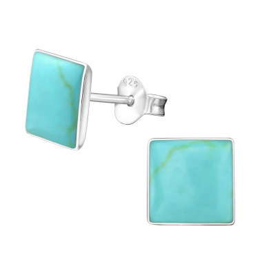 Shell ear studs square-1