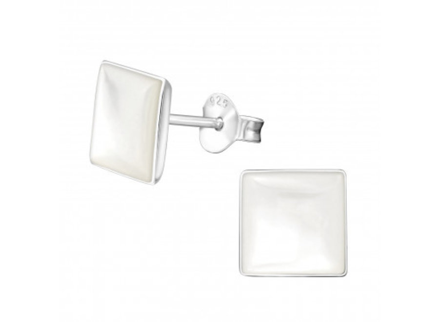 Shell ear studs square