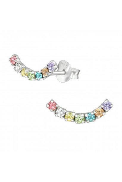 Silver cuff ear studs rainbow