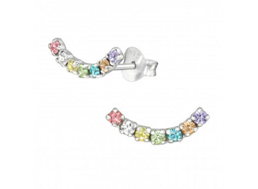 Zilveren manchet oorstekers regenboog