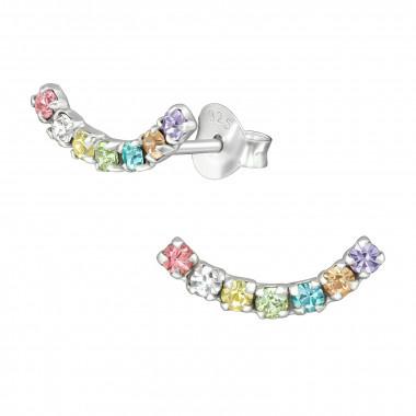 Silver cuff ear studs rainbow-1