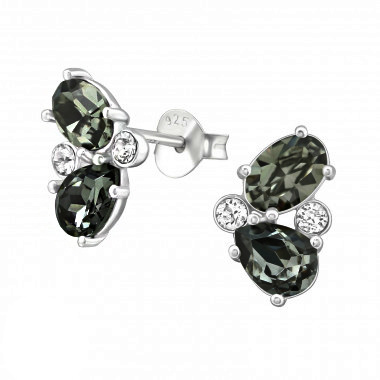 Silver ear studs with zirconia stones-1