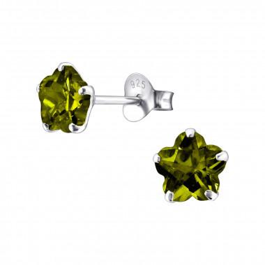 Silver ear studs with zirconia stone-3