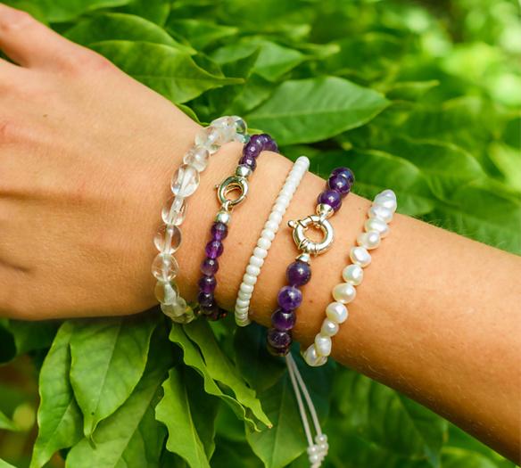 Gemstone bracelet amethyst with lock-2