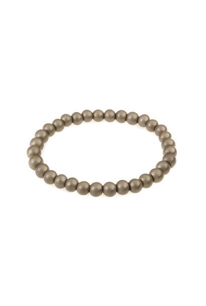 Glass beads bracelet fossil metallic