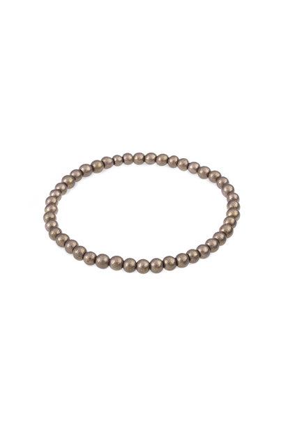 Glass bead bracelet gray metallic