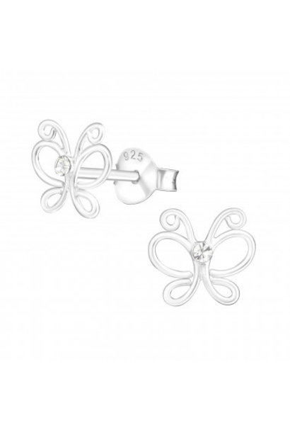 Silver earrings butterfly with crystal stone