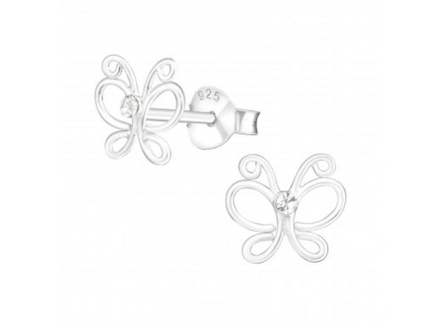 Zilveren oorstekers vlinder met kristal-steentje