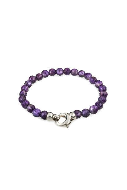 Gemstone bracelet amethyst with lock