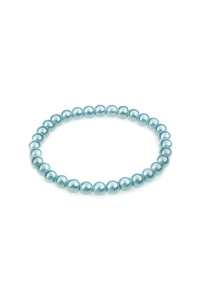 Glass pearl bracelet light blue