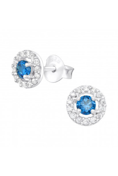 Silver ear studs with zirconia stones.