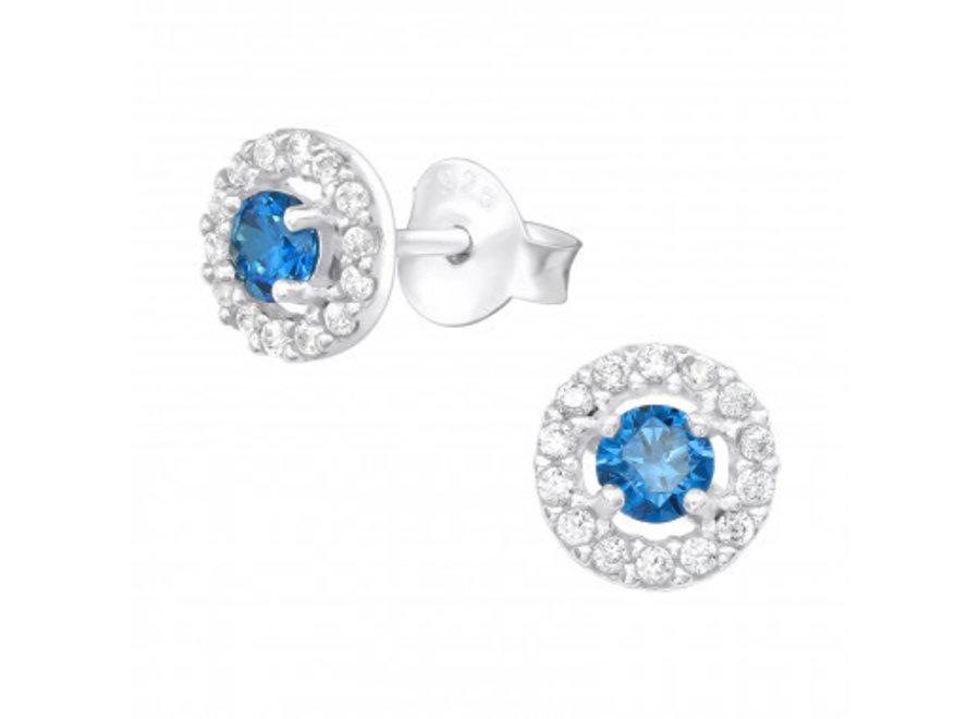 Zilveren oorstekers met zirkonia steentjes