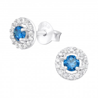 Silver ear studs with zirconia stones.-1