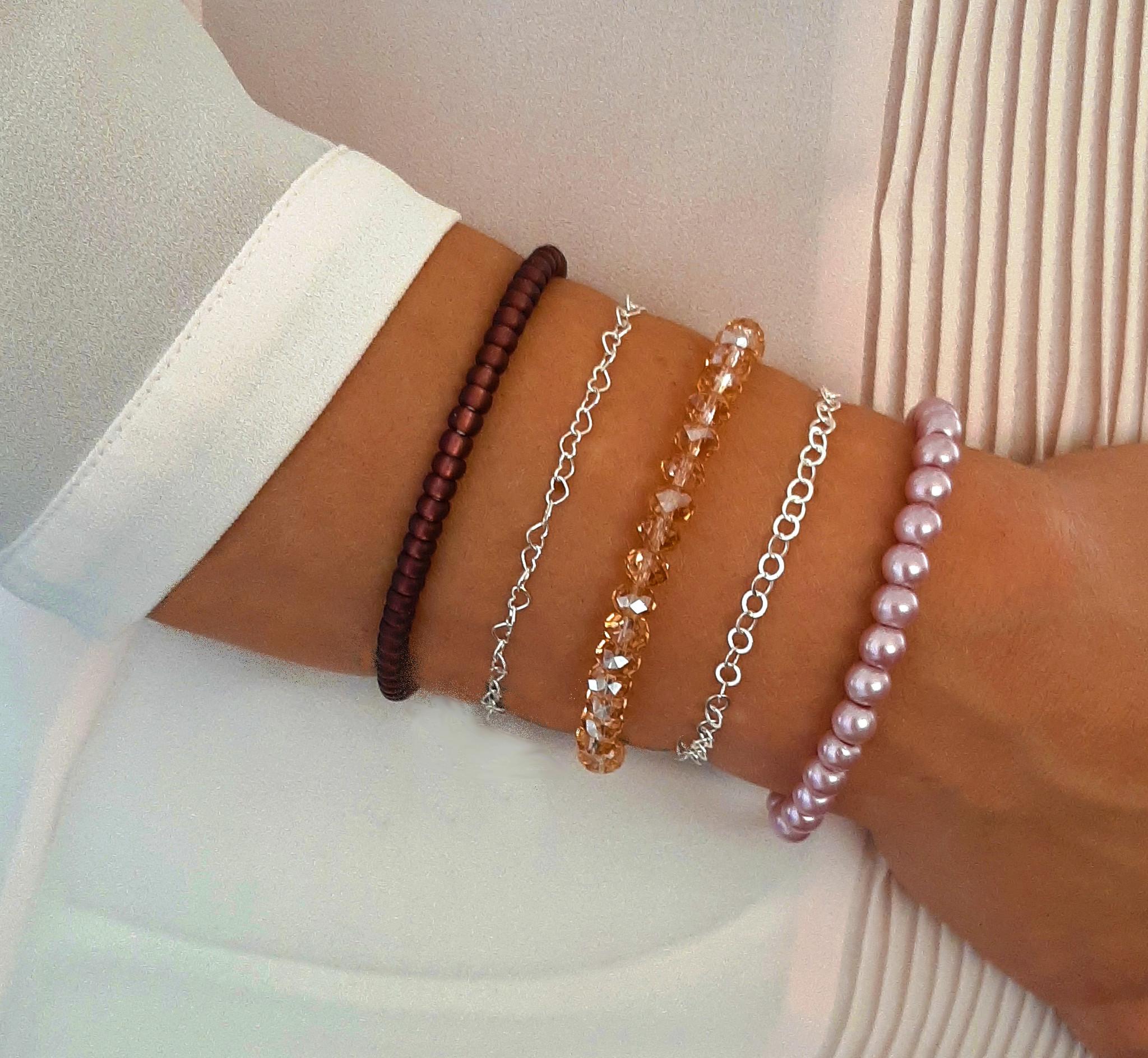 Glasparel armband oud roze-2
