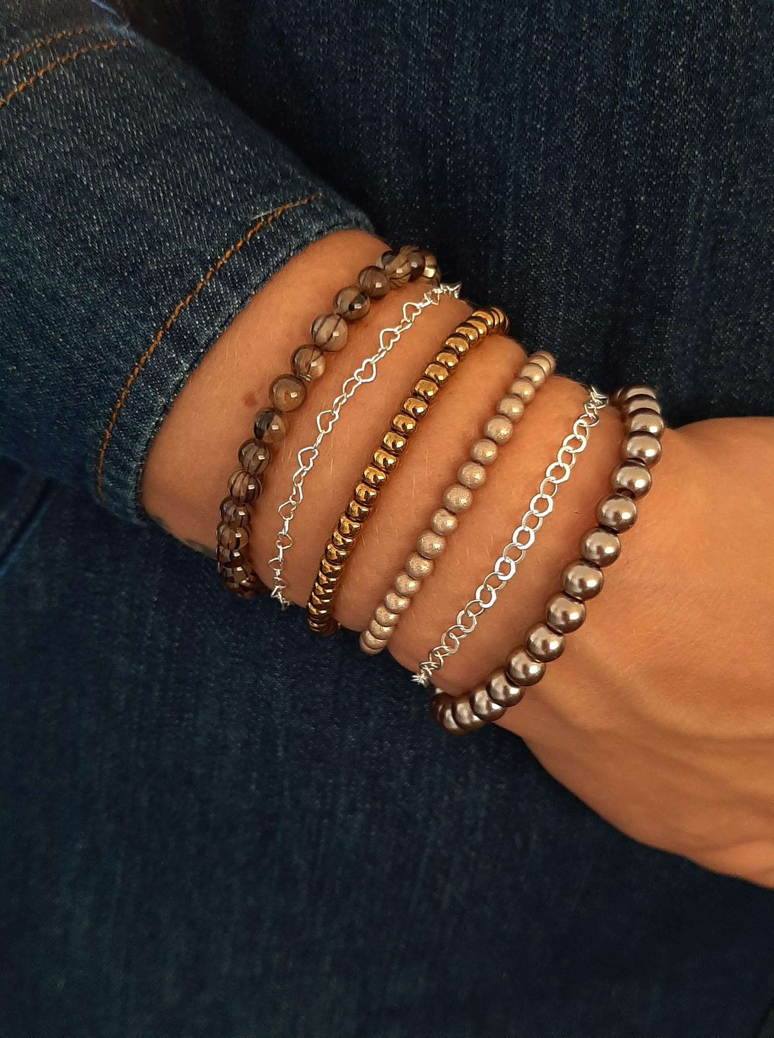 Glaskralen armband grijs metallic-2