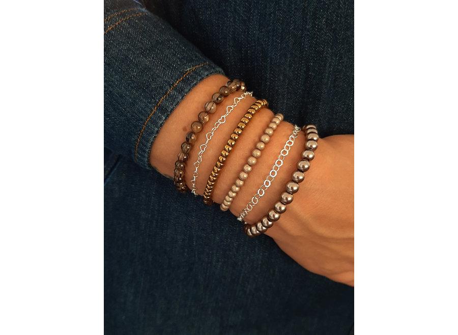 Glasparel armband beige