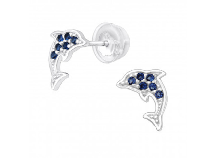 Silver dolphin earrings with zirconia stones