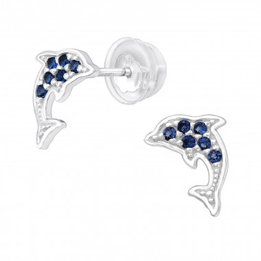 Silver dolphin earrings with zirconia stones-1