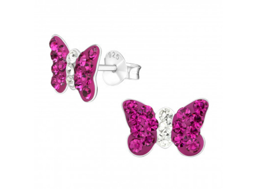 Silver butterfly earrings with crystal stones