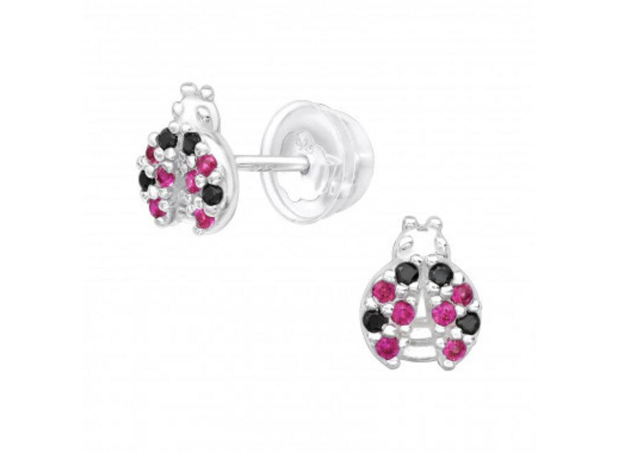 Silver ear studs ladybug with zirconia stones