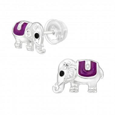 Silver elephant ear studs-1