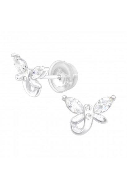 Zilveren oorstekers vlinder met zirkonia steentjes