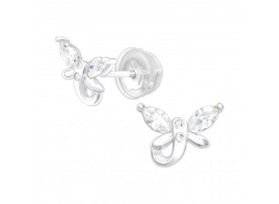 Silver butterfly earrings with zirconia stones