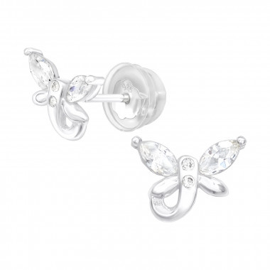 Zilveren oorstekers vlinder met zirkonia steentjes-1