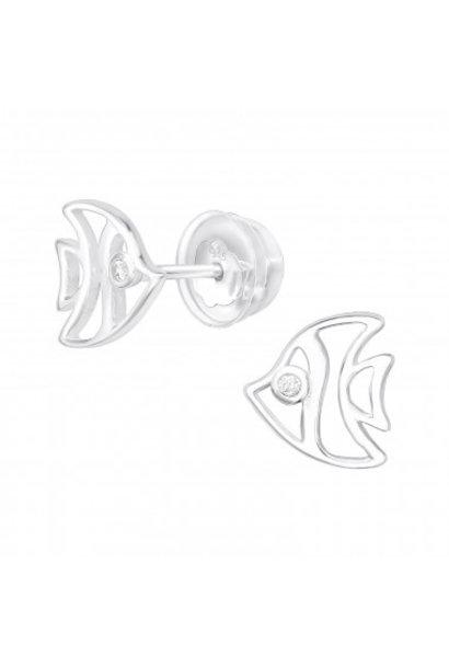 Zilveren oorstekers vis met zirkonia steentjes
