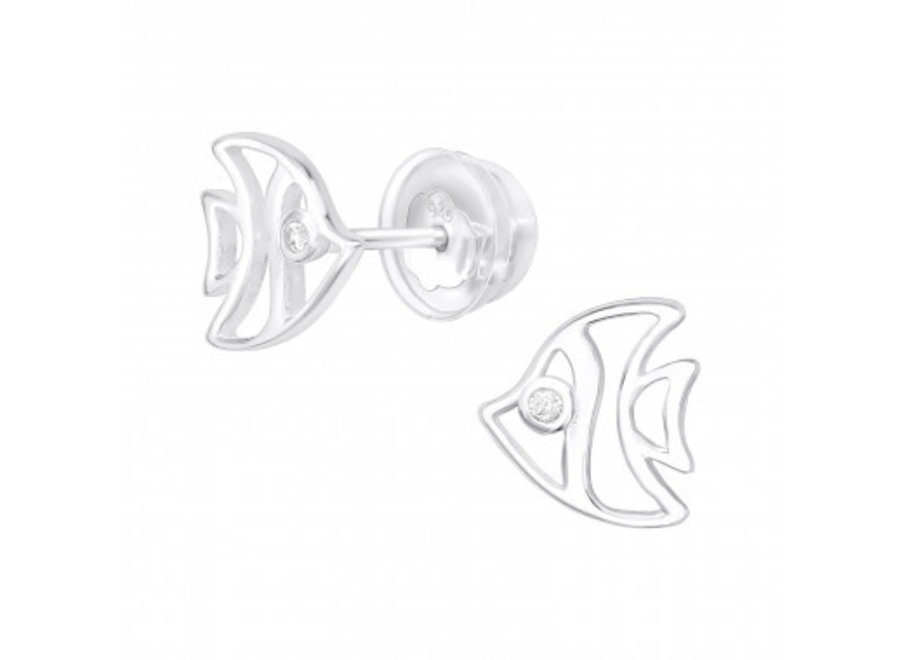 Silver fish ear studs with zirconia stones