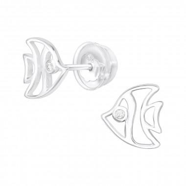Zilveren oorstekers vis met zirkonia steentjes-1