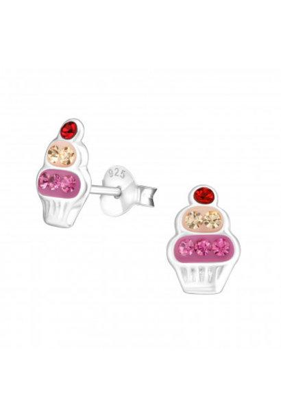Zilveren cupcake oorstekers met kristal steentjes