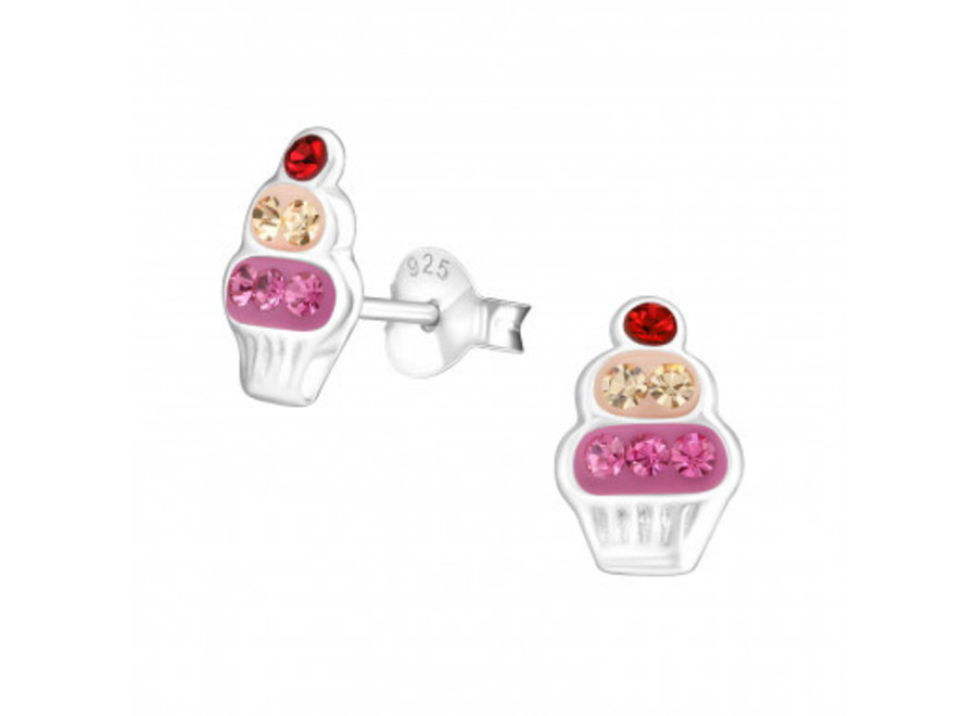 Silver cupcake earrings with crystal stones