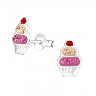 Silver cupcake earrings with crystal stones-1