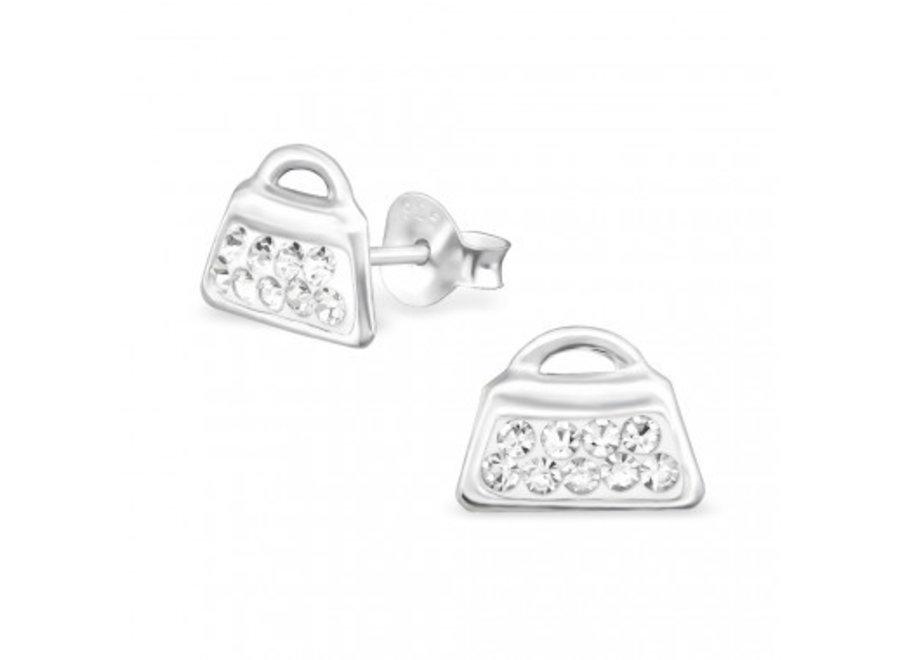Zilveren oorstekers tas met kristal steentjes