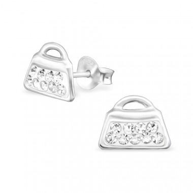 Zilveren oorstekers tas met kristal steentjes-1
